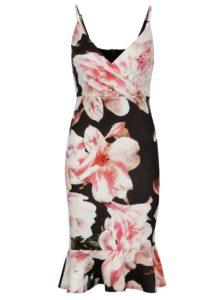 Čierne puzdrové kvetované šaty Scarlett B