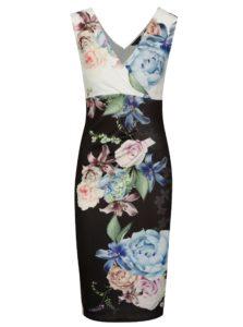 Čierne puzdrové kvetované šaty s riasením Scarlett B