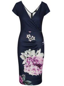 Tmavomodré puzdrové kvetované šaty Scarlett B