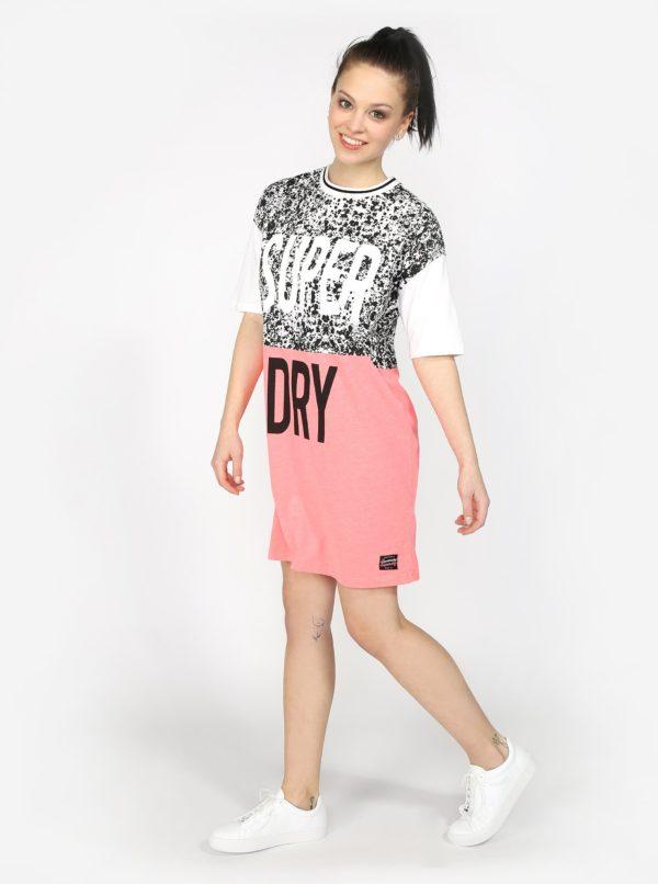 Bielo-ružové dámske šaty s potlačou Superdry  04e3a17c3b6