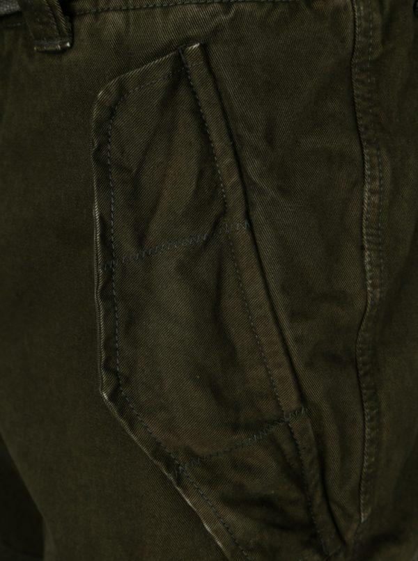 Tmavozelené pánske kraťasy s vreckami Superdry
