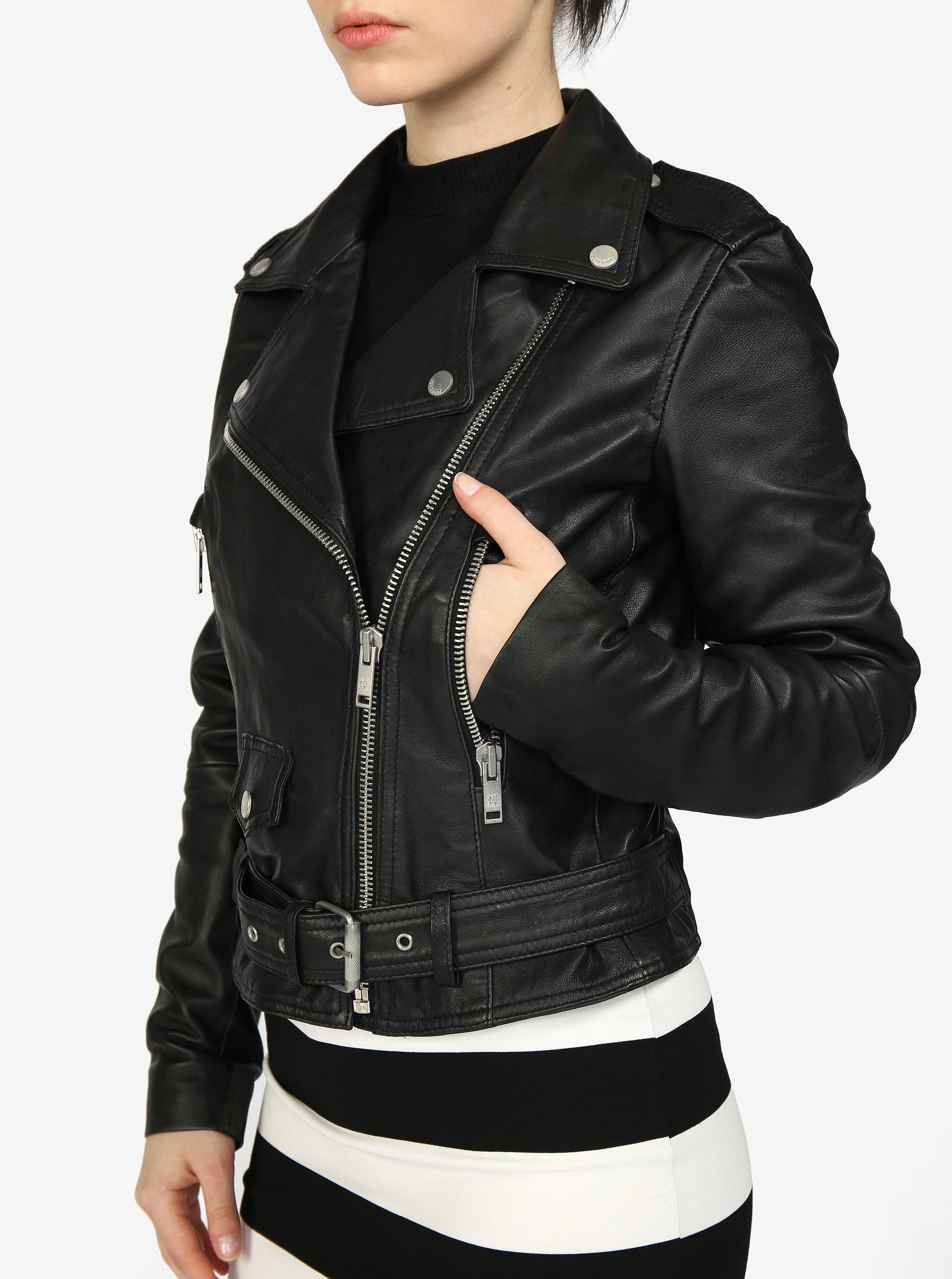 eca159cf6970 Čierna dámska kožená bunda Superdry