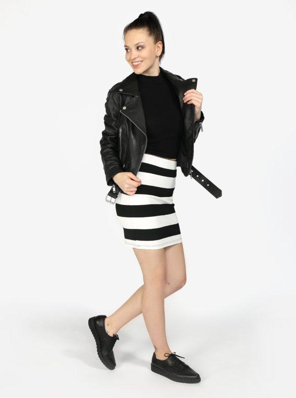 Čierna dámska kožená bunda Superdry