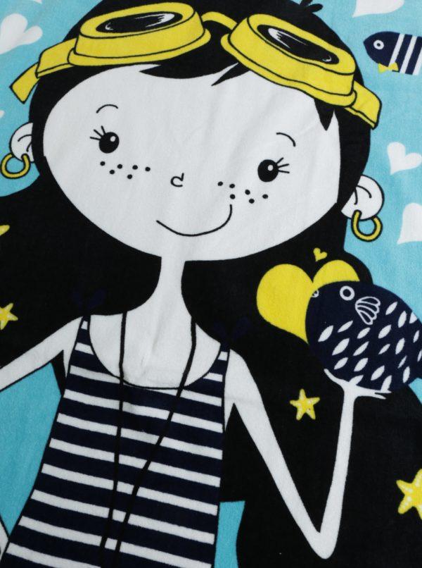 Čierno-modrý dievčenský uterák s motívom morskej víly BÓBOLI