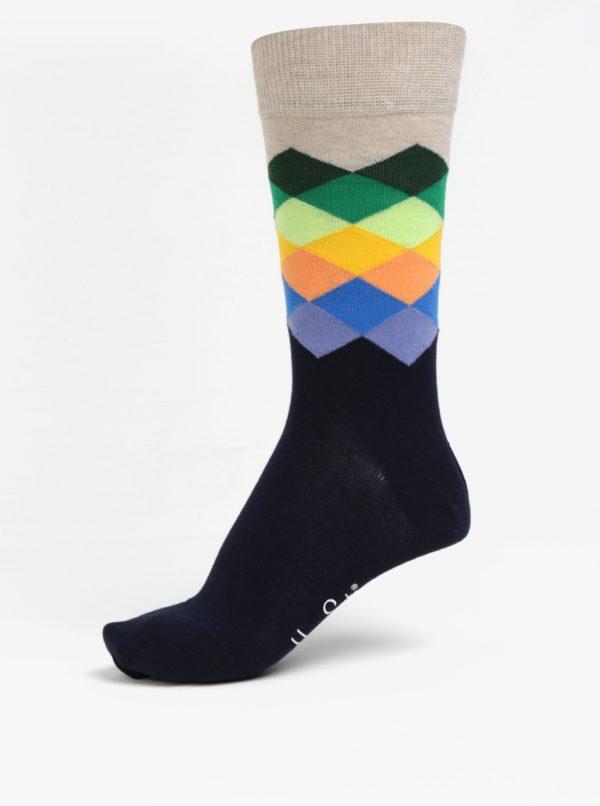 Béžovo-modré pánske vzorované ponožky Happy Socks Faded Diamond