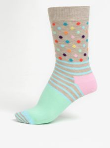 Zeleno-béžové dámske vzorované ponožky Happy Socks Stripes Dots