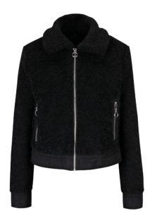 Čierna bunda z umelej kožušinky Miss Selfridge