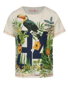 Béžové chlapčenské melírované tričko s potlačou BÓBOLI