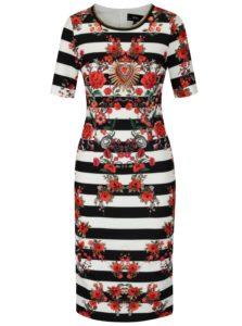 Krémové pruhované šaty s kvetovaným vzorom NISSA