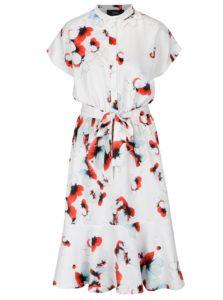 Biele košeľové kvetované šaty NISSA