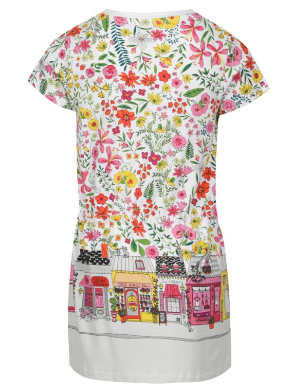 Biele dievčenské kvetované šaty s potlačou BÓBOLI