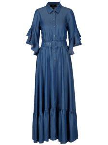 Modré košeľové maxišaty s volánmi NISSA