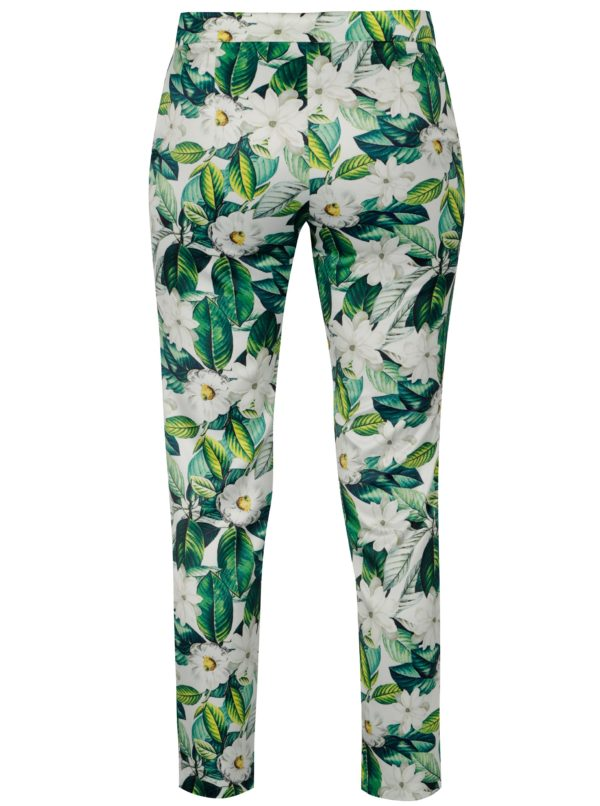 Zelené kvetované nohavice NISSA