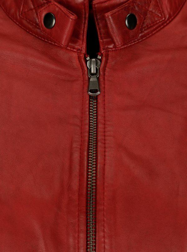 Červená dámska kožená bunda KARA Quime