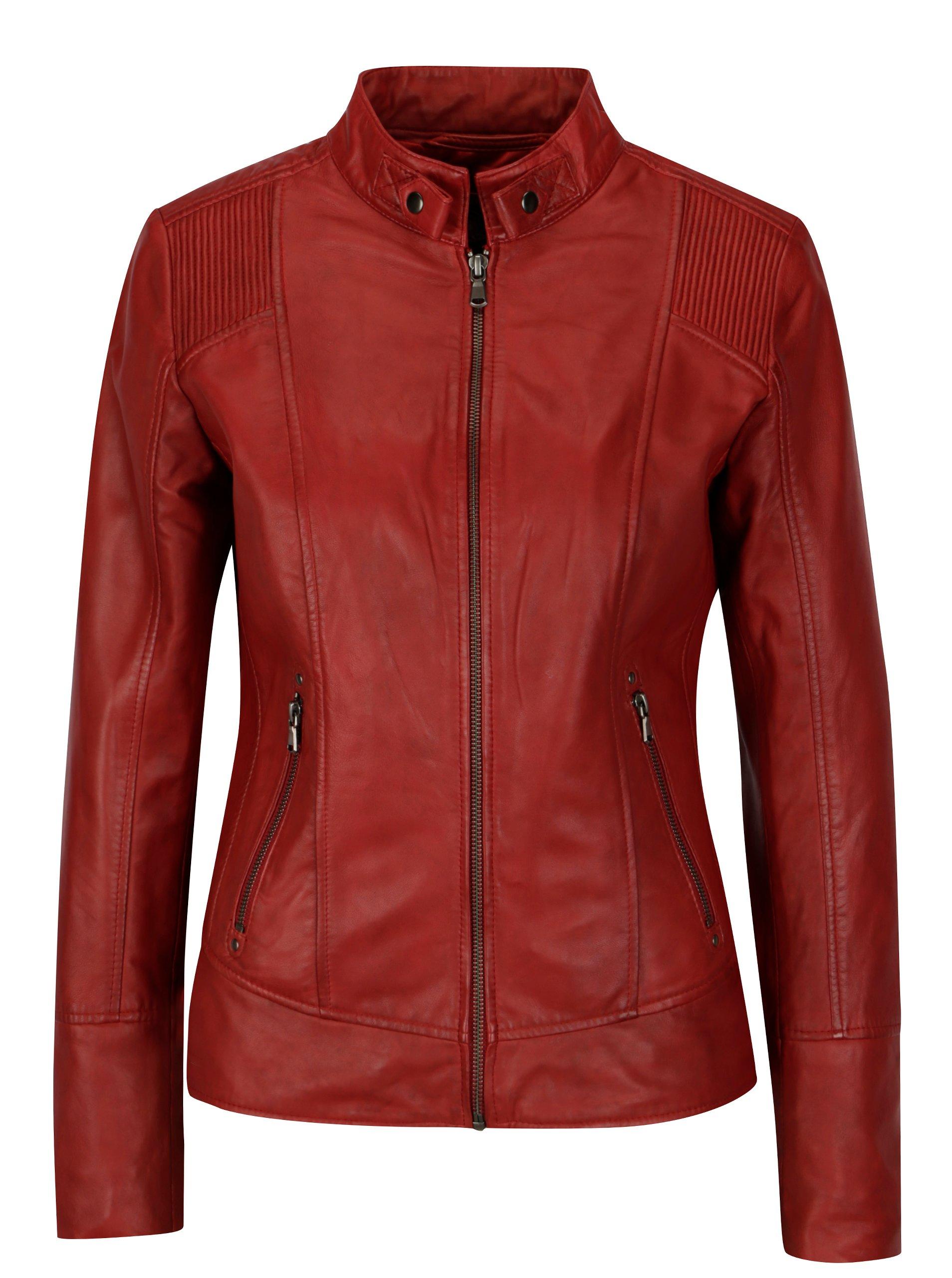 Červená dámska kožená bunda KARA Quime  006efb5ae22