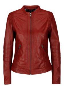 Červená dámska kožená bunda KARA Bawle