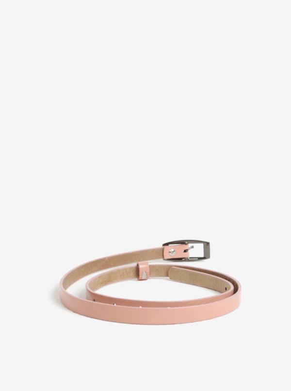 Ružový dámsky úzky kožený opasok KARA