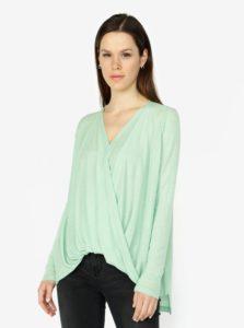 Zelené tričko s prekladaným predným dielom VERO MODA Luna