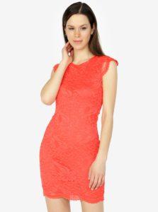 Červené čipkované šaty VERO MODA Sandra