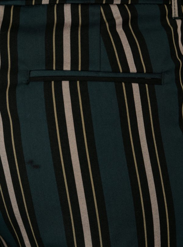 Tmavozelené pruhované skrátené nohavice Scotch & Soda