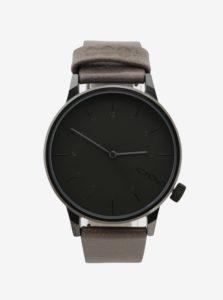 Sivé unisex hodinky s béžovým koženým remienkom Komono Winston Regal