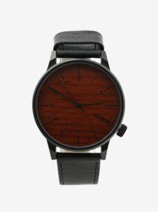 Čierne unisex hodinky s koženým remienkom Komono Winstor