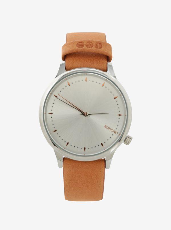 Dámske hodinky v striebornej farbe s koženým remienkom Komono Estelle