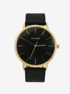 Pozlátené hodinky s čiernym silikónovým remienkom Pilgrim