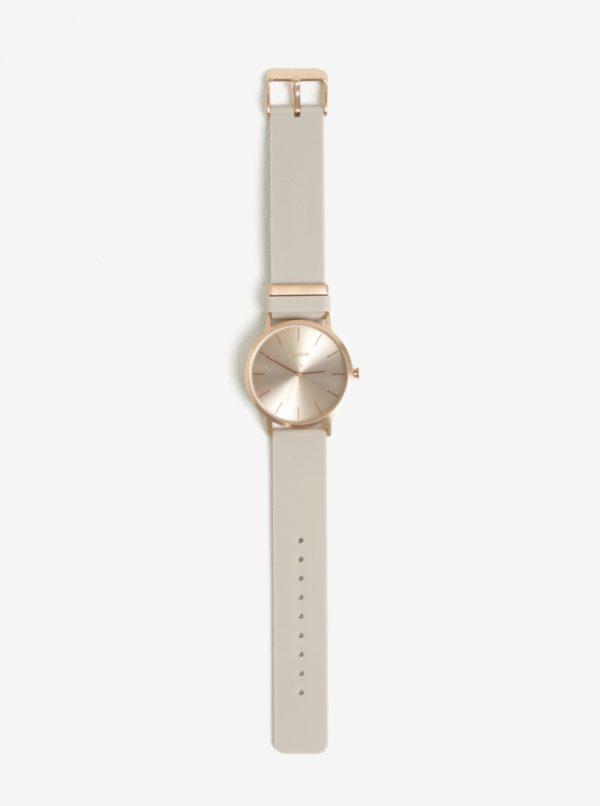 Pozlátené hodinky v ružovozlatej farbe so sivým silikónovým remienkom Pilgrim