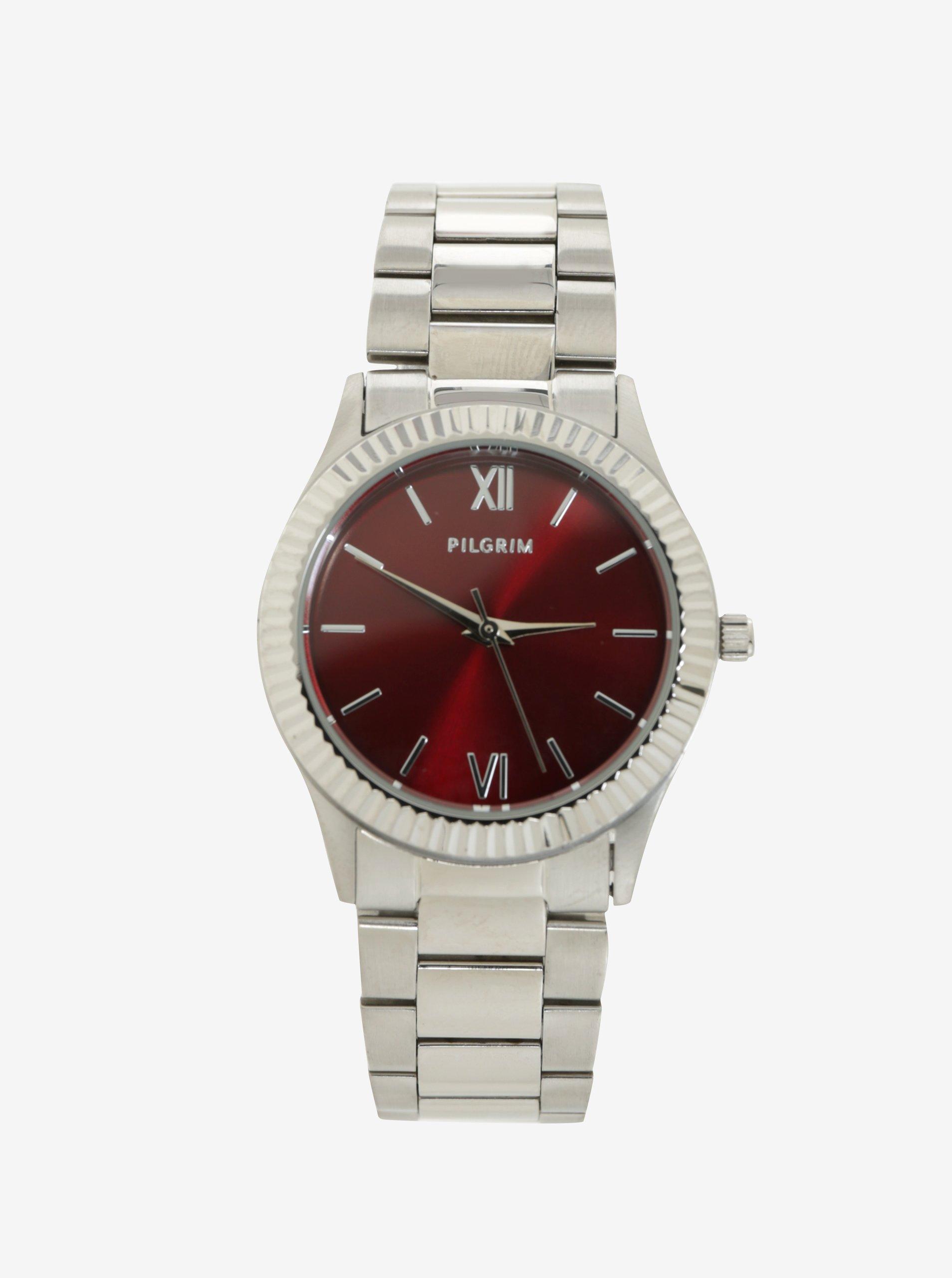 Postriebrené hodinky s vínovým ciferníkom a kovovým remienkom Pilgrim 98d2b449afc