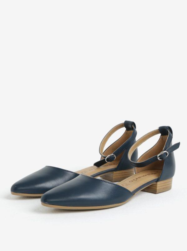 89cda191a2fa Tmavomodré kožené sandále Tamaris
