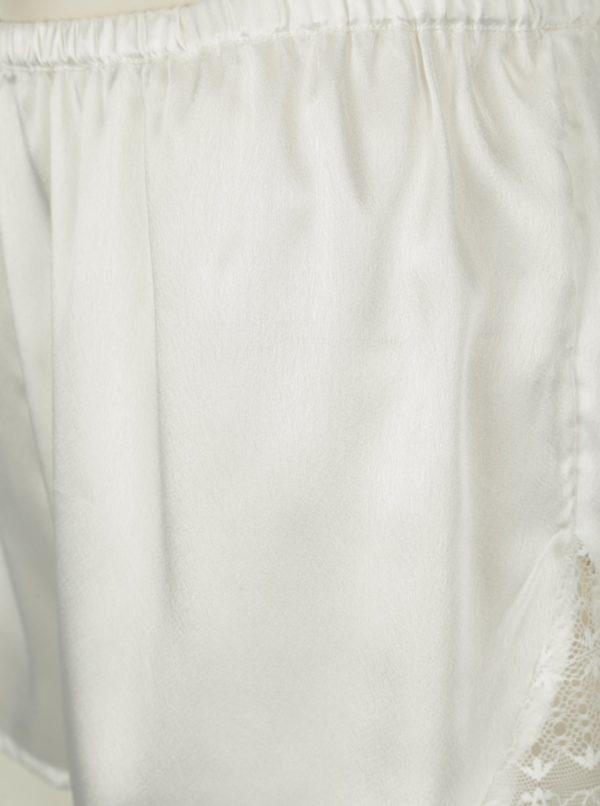 Krémové saténové pyžamo s čipkou na chrbte Dorothy Perkins