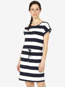 Modro-krémové pruhované šaty s krátkym rukávom ONLY Amber