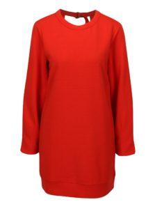 Červené mikinové rebrované šaty s prestrihom na chrbte Jacqueline de Yong Boy
