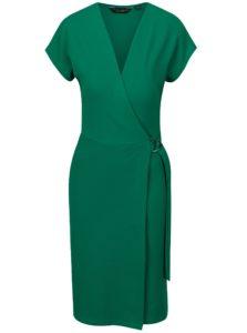 Zelené šaty s prekladaným predným dielom Dorothy Perkins