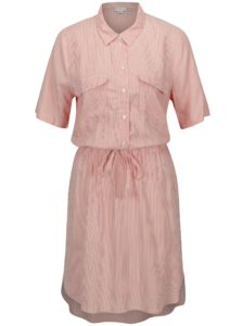 Krémovo-červené pruhované košeľové šaty Jacqueline de Yong Beach