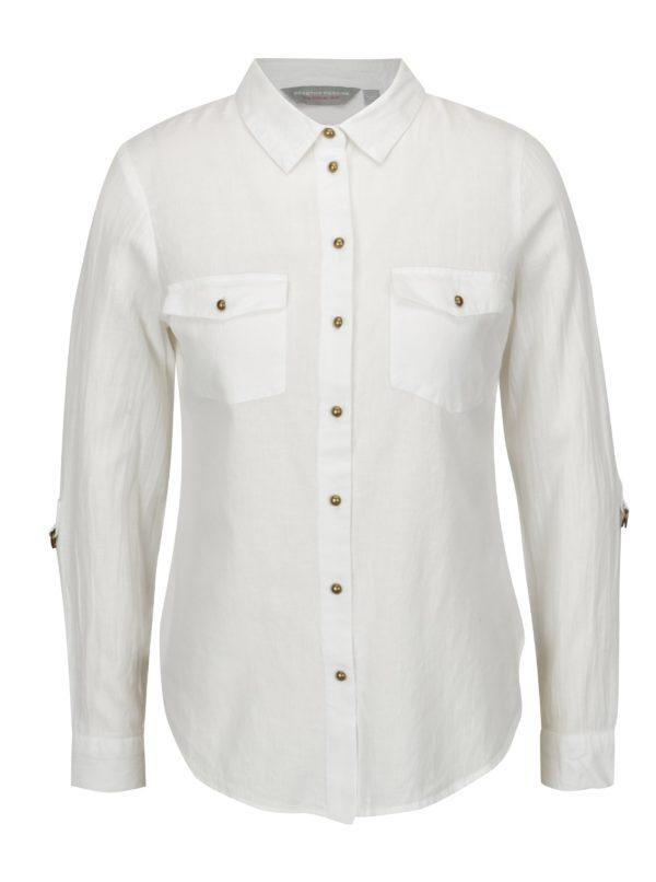 Biela košeľa s gombíkmi v bronzovej farbe Dorothy Perkins Petite