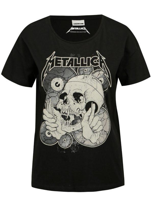 Čierne tričko s potlačou Noisy May Metallica