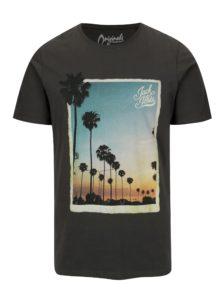 Tmavosivé tričko s potlačou Jack & Jones Premium Horizon