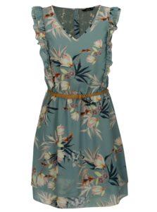 Zelené kvetované šaty s čipkou na chrbte a volánikmi ONLY Libby