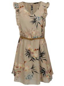 Béžové kvetované šaty s čipkou na chrbte a volánikmi ONLY Libby