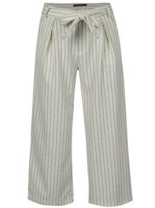 Krémové pruhované skrátené culottes nohavice s vysokým pásom ONLY Lou