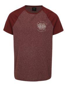 Vínové melírované tričko s potlačou Burton Menswear London