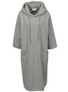 Sivé oversize mikinové šaty s kapucňou a 3/4 rukávom Zizzi
