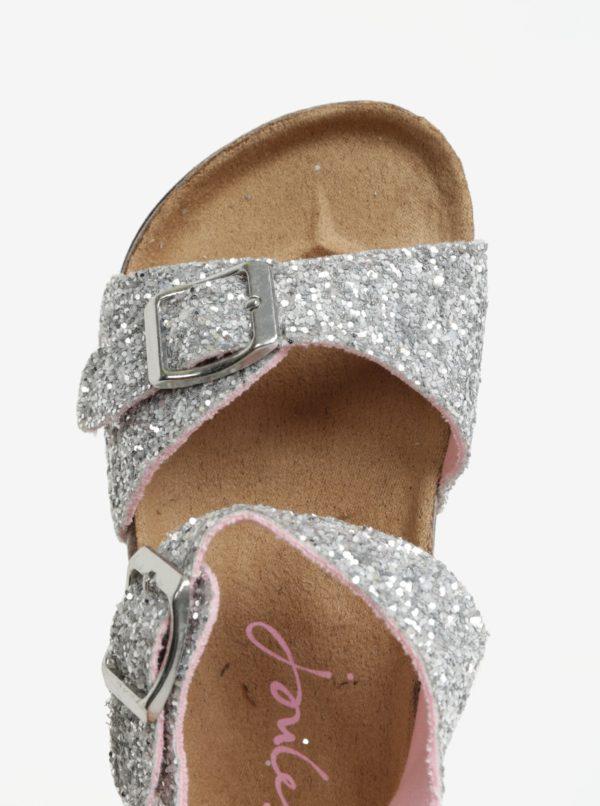 Trblietavé dievčenské sandále v striebornej farbe Tom Joule Tipytoes