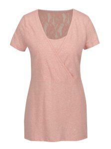 Ružové melírované tričko na kojenie s čipkovanými detailmi Mama.licious Elenoir