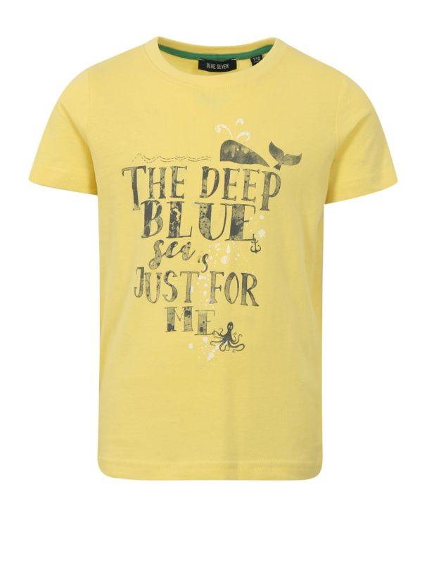 Žlté chlapčenské tričko s potlačou Blue Seven