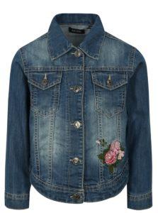 Modrá dievčenská rifľová bunda s výšivkou Blue Seven