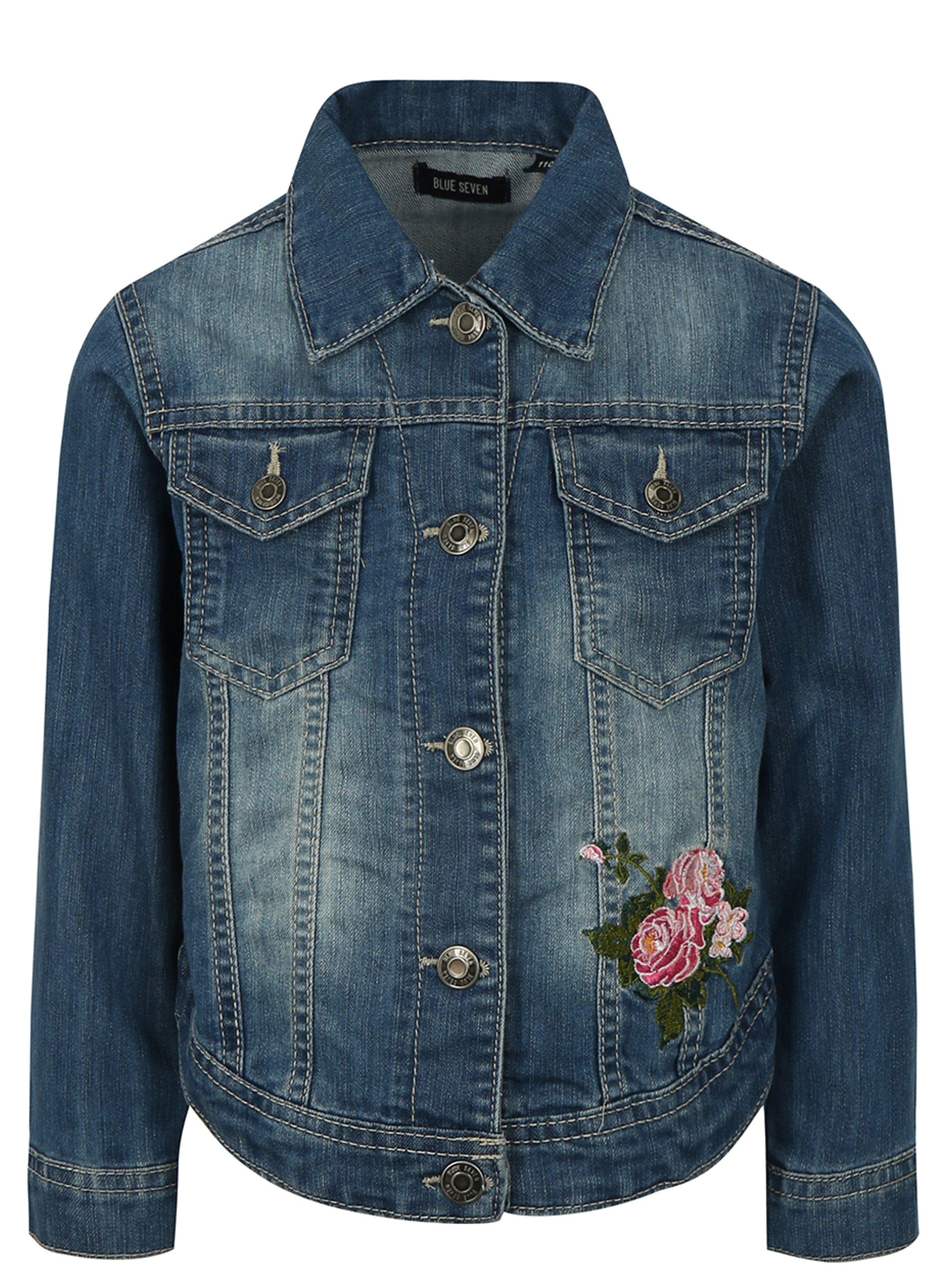 5b1ff91cc3ba Modrá dievčenská rifľová bunda s výšivkou Blue Seven