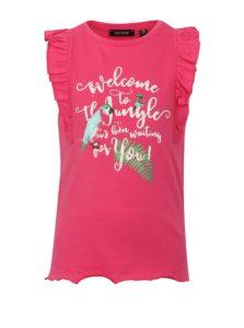 Ružové dievčenské tielko s potlačou a volánmi na ramenách Blue Seven